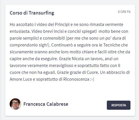 Recensione Corso di Transurfing del Dott. Nicola Saltarelli di Francesca